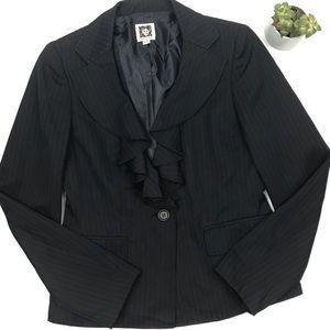ANNE KLEIN Navy Pinstripe Ruffle Blazer *Brand New